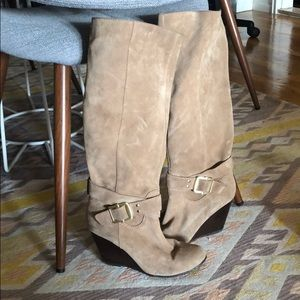 Taupe suede sole society wedge boots